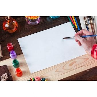 Картина бумага макете дизайн