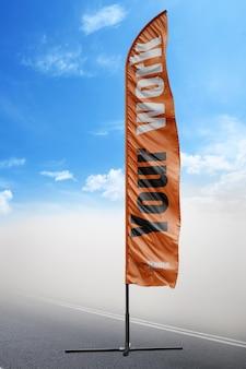 オレンジ色の旗をモックアップ