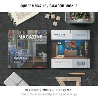 異なるオブジェクトを持つ正方形の雑誌またはカタログモックアップ