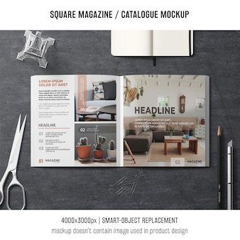 創造的な正方形の雑誌かカタログの模造