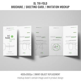 トリフォールドパンフレットまたは招待状模擬コンセプト
