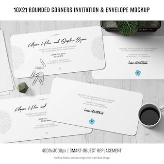 Приглашение с закругленными углами и макет конверта