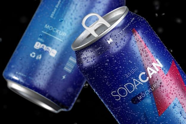 ソーダ缶モックアップ。アルミソーダ缶の層状モックアップ