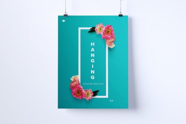 ハンギングポスターモックアップの肖像画