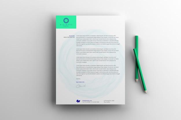 Макет документа с карандашами