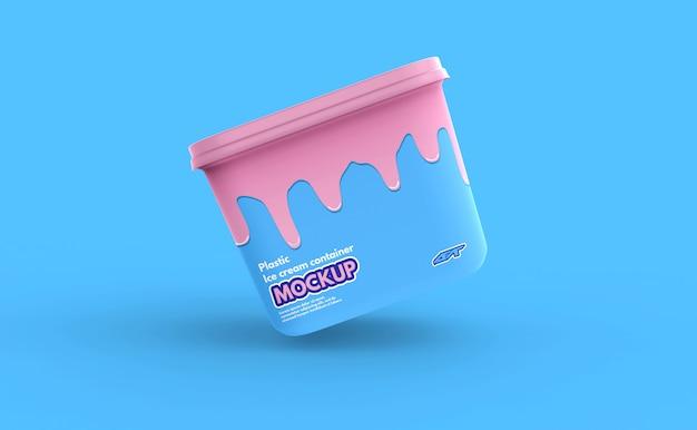 プラスチックアイスクリームコンテナーボックスモックアップ