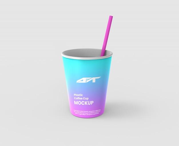 プラスチックコーヒーカップのモックアップ