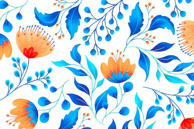 Цветочный орнамент с художественными цветами