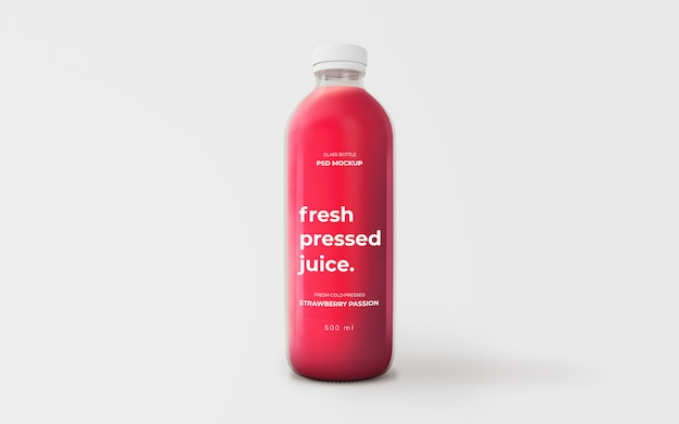 完全に編集可能なイチゴジュースガラスボトルモックアップ