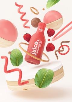 イチゴと新鮮な夏のジュースのモックアップ