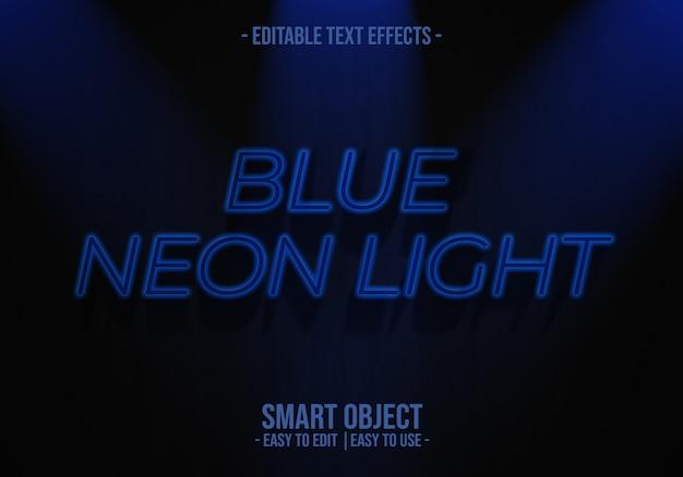 青いネオンライトテキストスタイルの効果