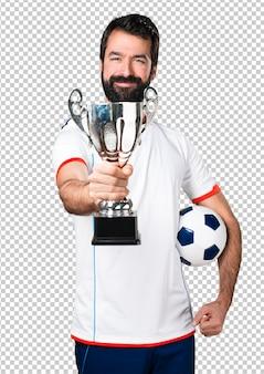 幸運なサッカー選手サッカーボール