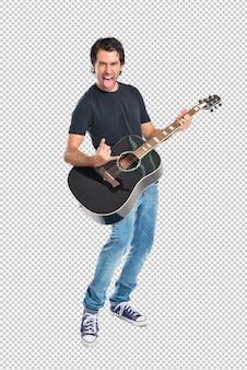 白い背景上のギターを持つハンサムな男