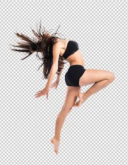 若いフィットネス女性ジャンプ