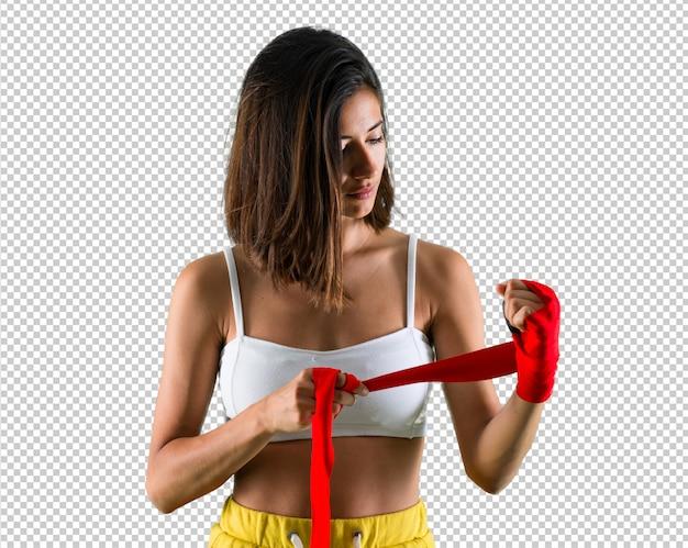 ボクシング包帯を持つスポーツ女性