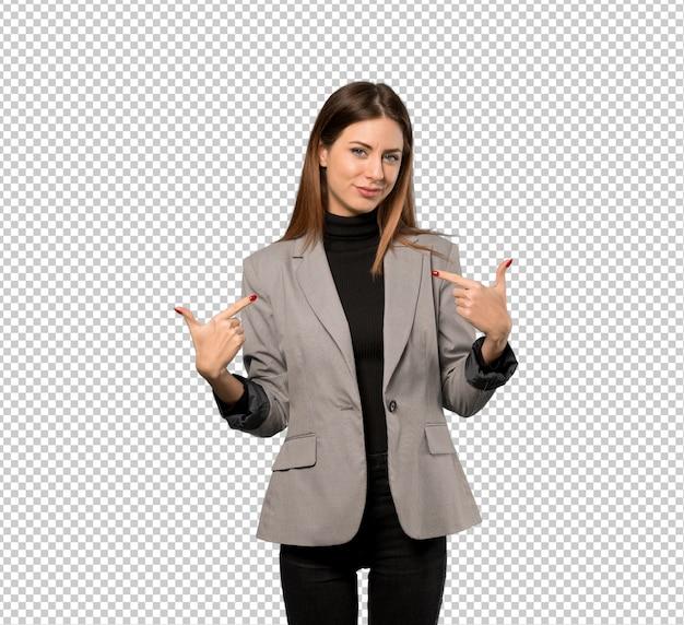ビジネスの女性の誇りと自己満足