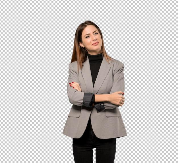 ビジネスの女性の笑みを浮かべて