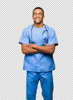 Хирург доктор человек счастлив и улыбается