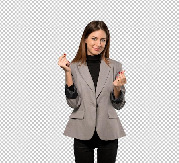 ビジネスの女性がお金のジェスチャーを作る