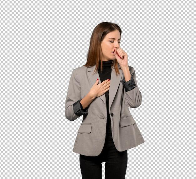 ビジネスの女性が咳で苦しんでいると気分が悪くなる