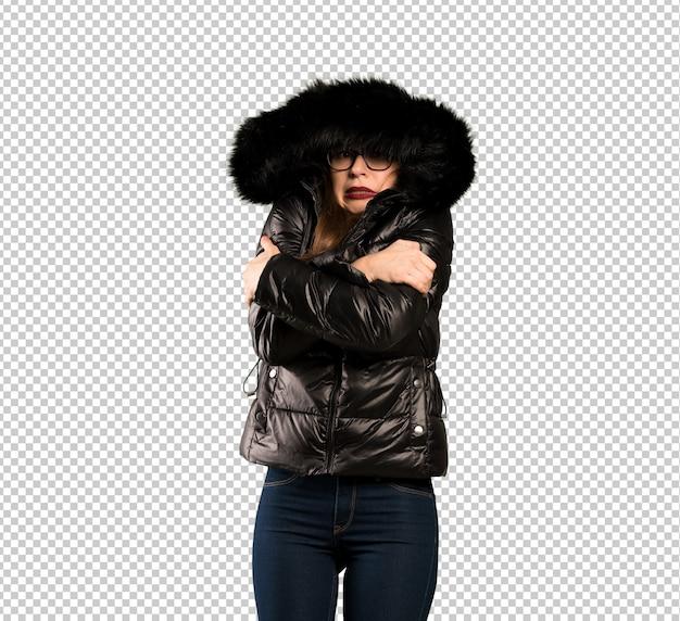 凍結のメガネを持つ女性