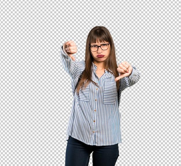 親指を表示メガネの女性