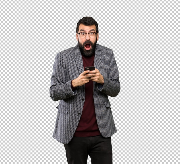 メガネでハンサムな男は驚いて、メッセージを送信する