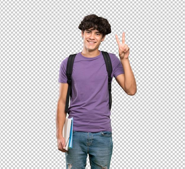 両方の手で勝利のサインを示す若い学生男