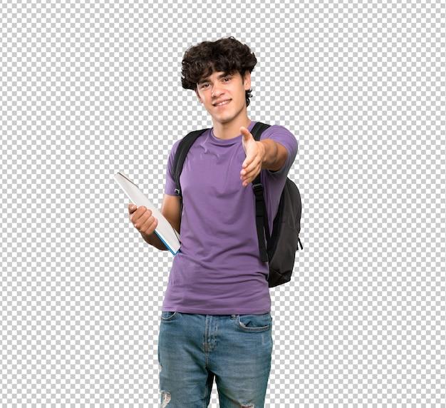 若い学生の男がかなりを閉じるために手を振って