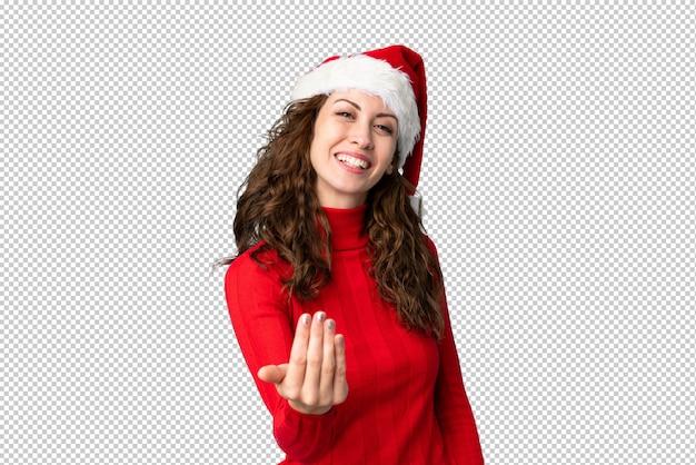 来て招待クリスマス帽子の少女