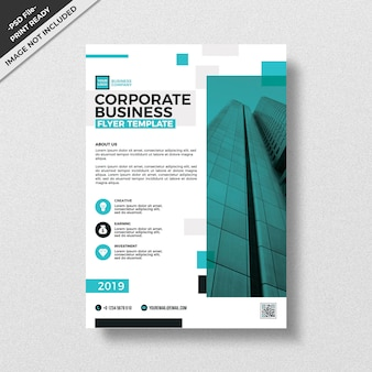 Современный голубой корпоративный бизнес флаер шаблон
