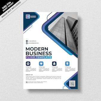 青のグラデーションスタイルのモダンなビジネスチラシテンプレート