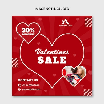 Шаблон социальных медиа с продажей на день святого валентина