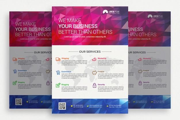 ピンクと白のビジネスパンフレット