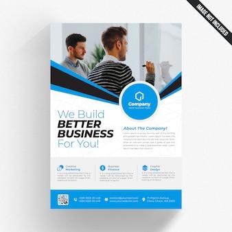 ブルーの白いビジネスチラシ