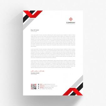 赤と黒の詳細と白の履歴書テンプレート