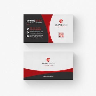 Белая визитка с красными деталями