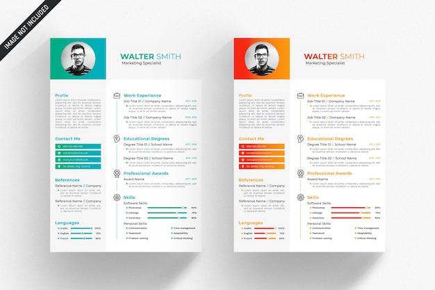 緑とオレンジの詳細を持つ白い履歴書テンプレート