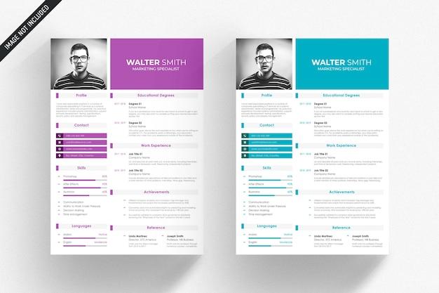 青と紫の詳細と白の履歴書テンプレート