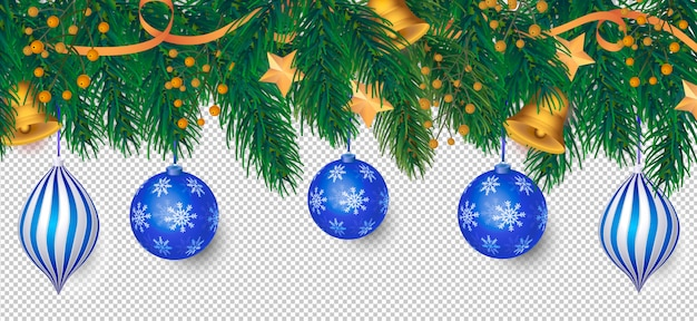 Элегантный новогодний фон с синим украшением