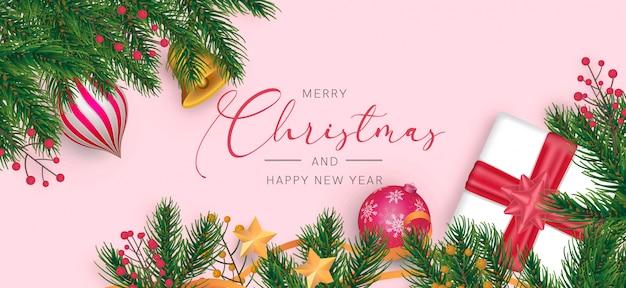 現実的な装飾とモダンなクリスマス背景
