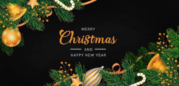 金色の装飾とエレガントなクリスマス背景