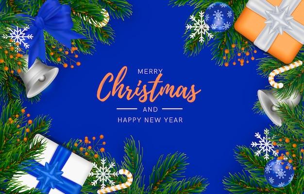 青い装飾が施されたモダンなクリスマス背景