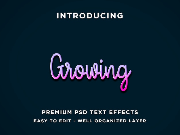 Редактируемый текстовый эффект - фиолетовый растущий стиль