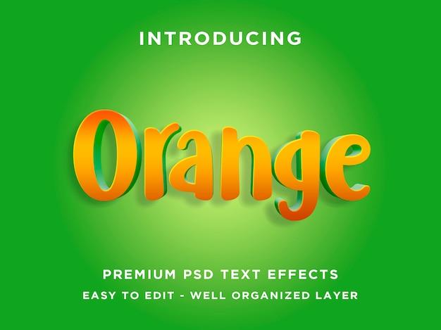 Редактируемый текстовый эффект - оранжевый зеленый стиль