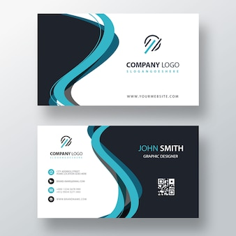 Шаблон визитной карточки синий абстрактная форма