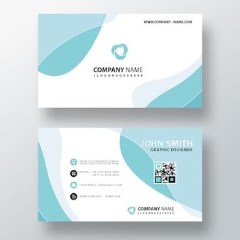 青い波状の抽象的なビジネスカード