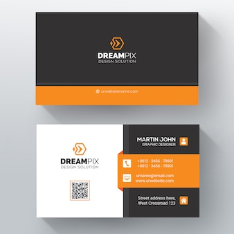 Визитная карточка оранжевой формы