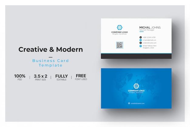 青いエレガントなコーポレートカード