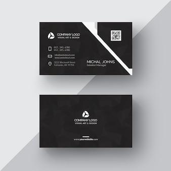 Черная визитная карточка с серебряными деталями